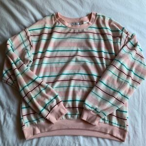 Urban outfitters pink striped sweatshirt